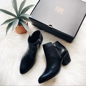 Frye Judith Black Leather Double Zip Ankle Booties